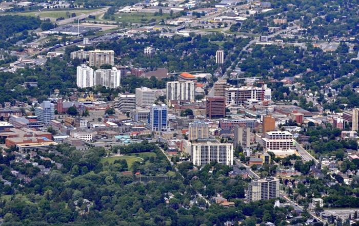 キッチェナーの町の航空写真