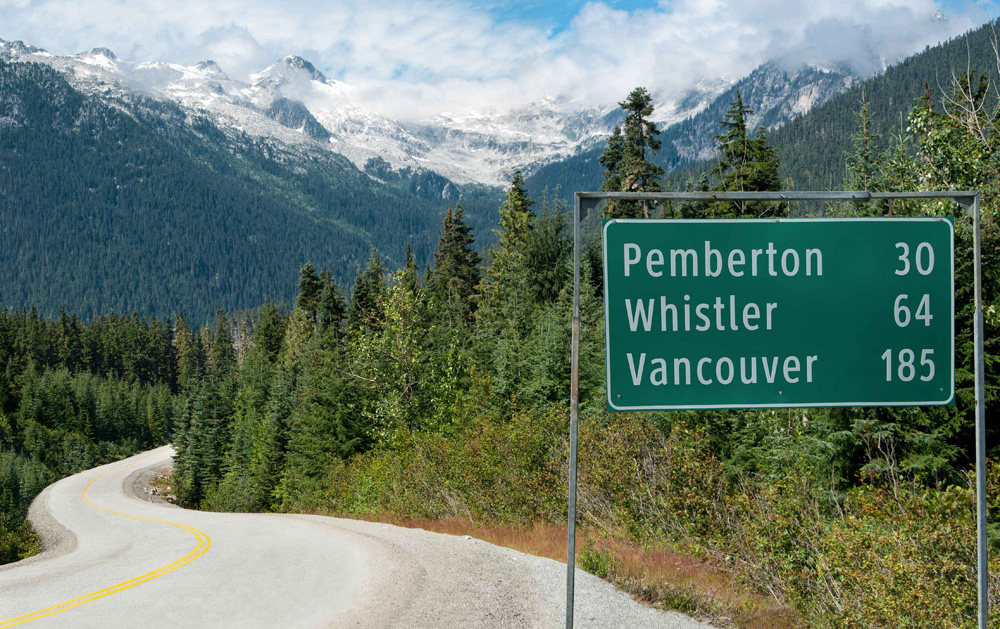 ペンバートン、ウィスラー、バンクーバーの看板