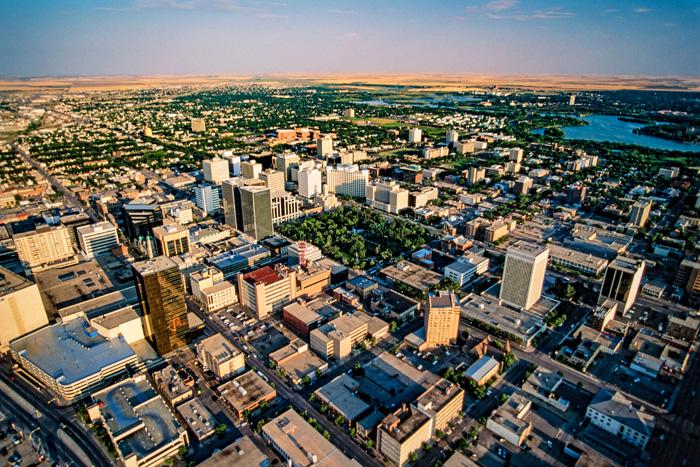 レジャイナのダウンタウンの航空写真