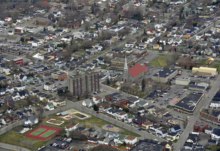 コーンウォルの町の航空写真