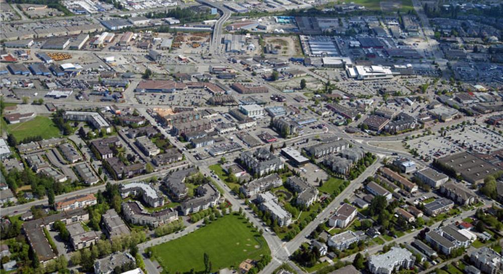 ラングレーのダウンタウンの航空写真