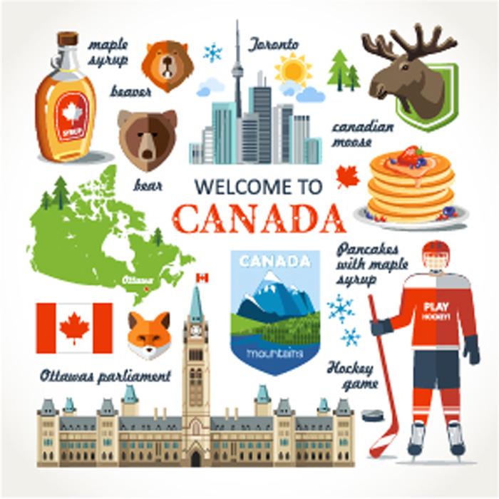カナダの文化と習慣 カナダの象徴のイラスト