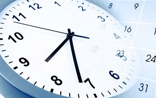 留学期間を考える 時計とカレンダー