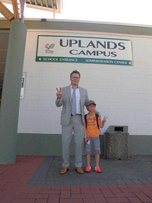 アップランズキャンパスでJeffさんと息子